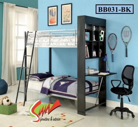 Bunk Bed with Shelf and Desk