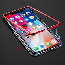 Baseus 360 Magnetic Case Metal Edge Tempered Glass Cover For iphone X