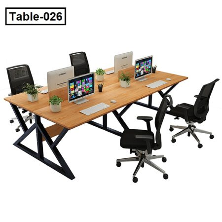 Computer desk contracted and contemporary four people work a simple table screen booth staff office desks and chairs