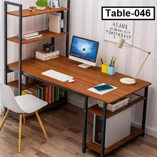 Modern reading table with shelf for home