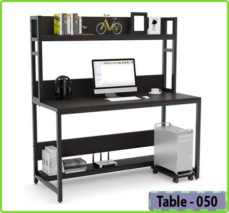 Computer Desk with Modern Writing Desk with Bookshelf