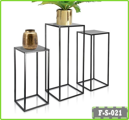 Set of 3 Metal Plant Stand Nesting Display End Table Square Rack Flower Holder